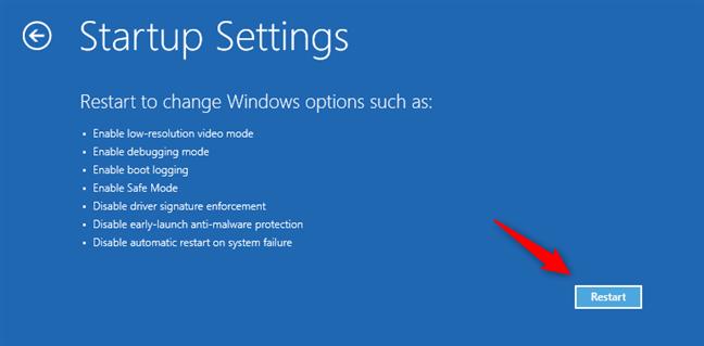 Startup Settings: Choose Restart for Windows 10 Safe Mode options