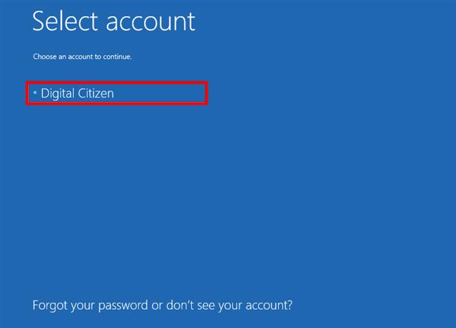 Choosing an account to log in