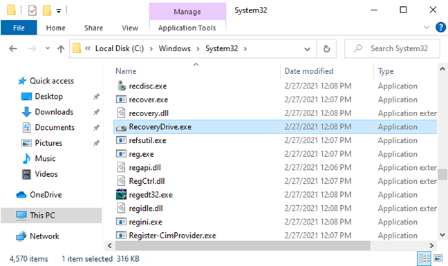 The path to the RecoveryDrive.exe file