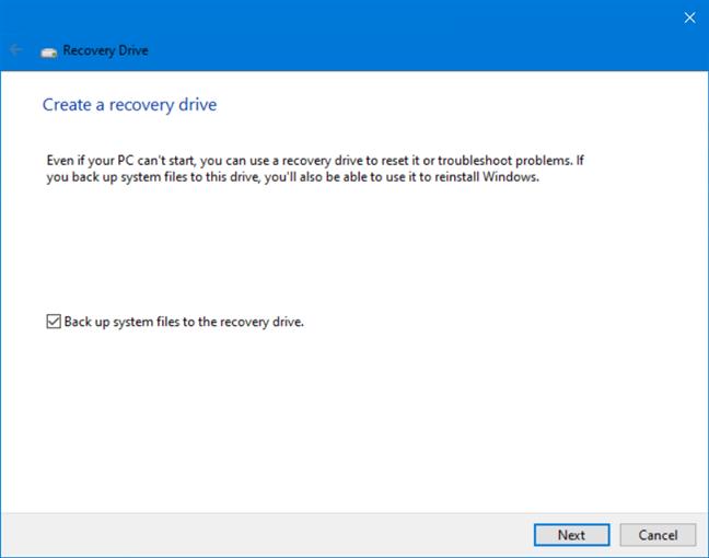 Create a Windows 10 recovery drive