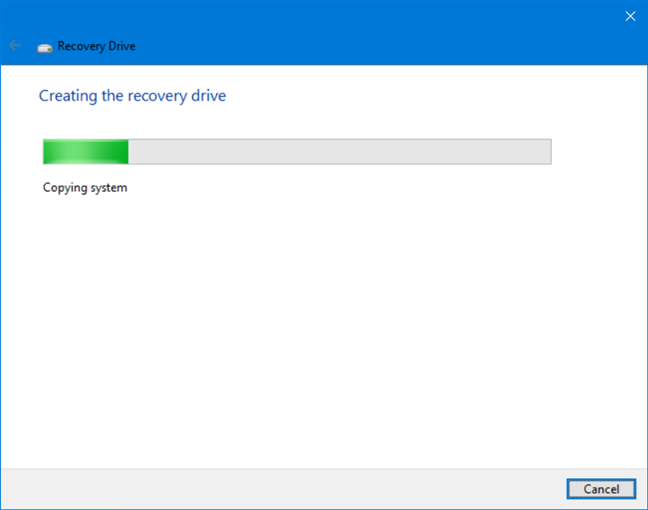 Creating the recovery drive takes a long time