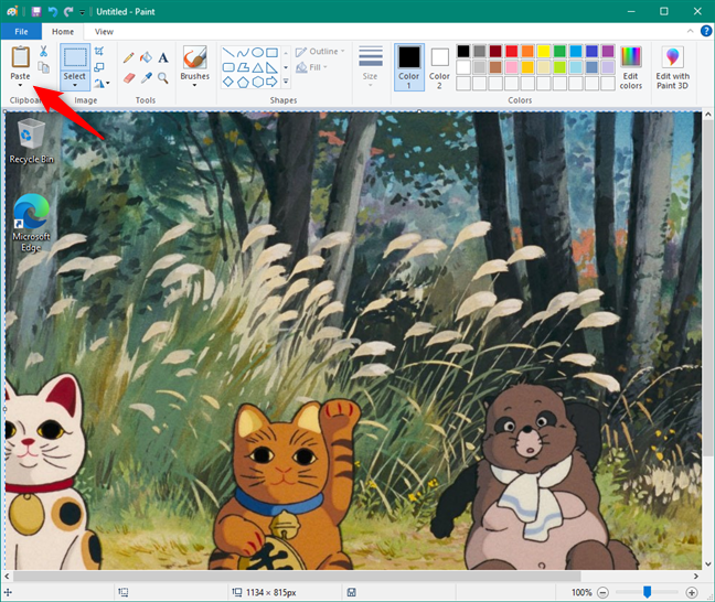 Screenshot of the whole screen, pasted in Paint