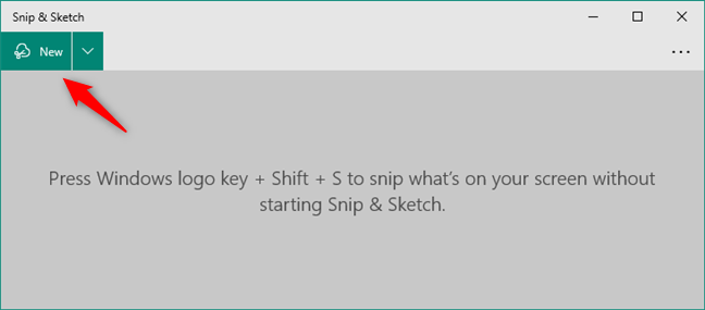 Start a screenshot in Snip & Sketch from Windows 10