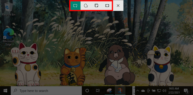 Screenshot options offered by Snip & Sketch in Windows 10