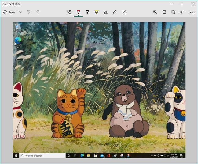 Editing a screenshot in Snip & Sketch on Windows 10