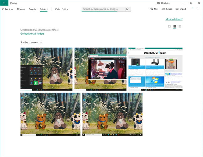 Screenshots viewed in the Photos app from Windows 10