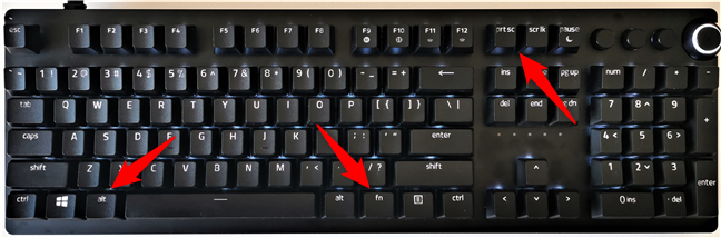 Keyboard shortcuts for screen capture on keyboards with the Fn key