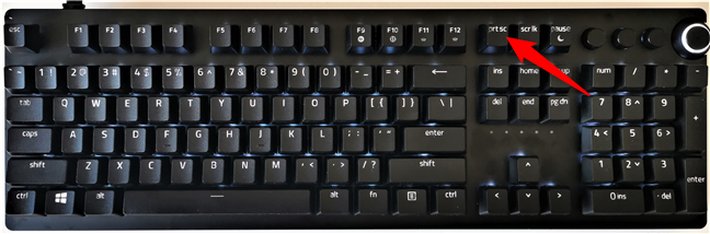 The Print Screen button on a computer keyboard