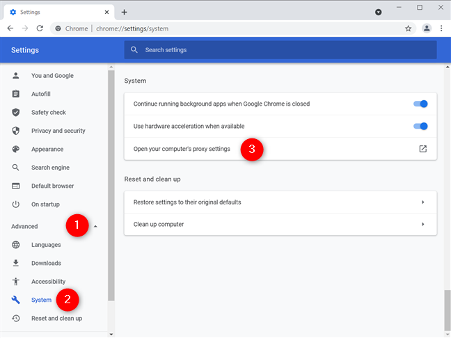Open your computer's proxy settings to set a proxy for Chrome