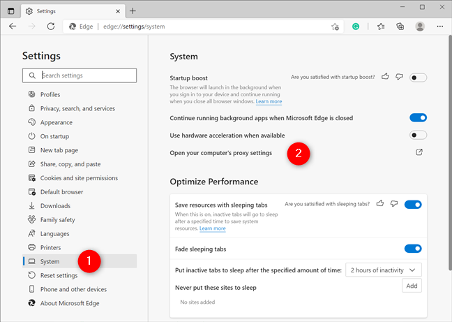 Open your computer's proxy settings to set an Edge proxy