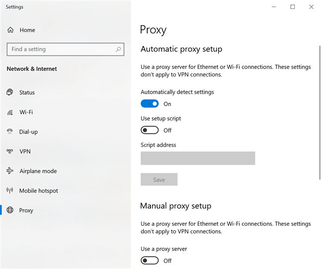 Configure Windows 10's proxy server settings