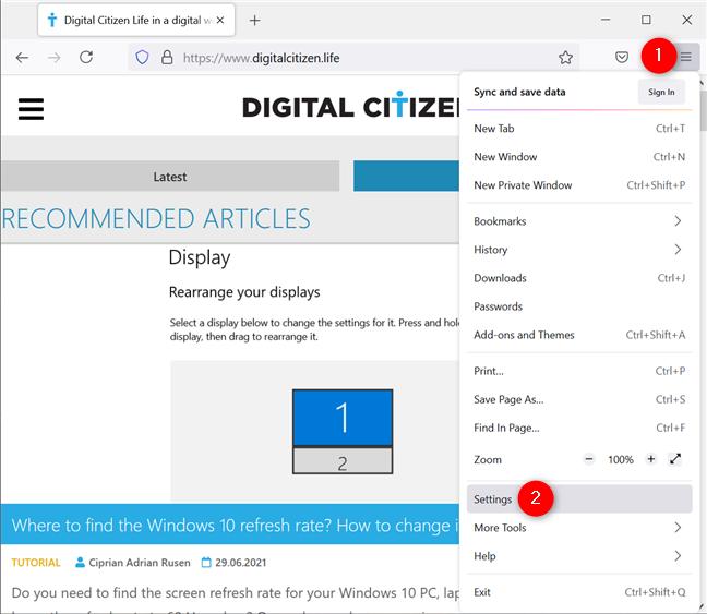 Access the Firefox Settings