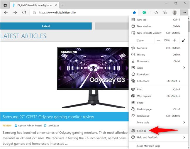 Access the Microsoft Edge Settings
