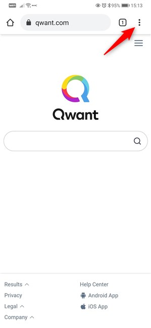Add Qwant to Google Chrome for Android