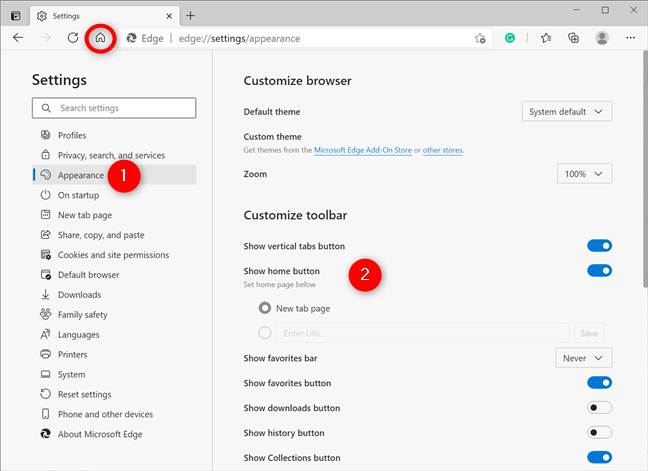 Enabling the Home button in Microsoft Edge