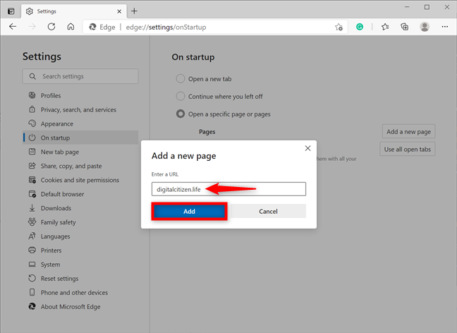 Add a new startup page in Microsoft Edge