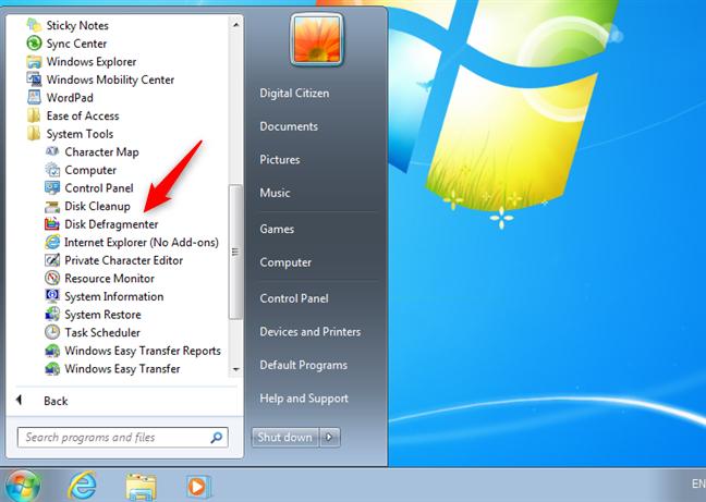 The Disk Defragmenter shortcut in Windows 7