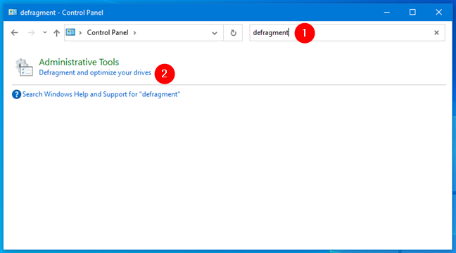 Search for defragment in the Control Panel from Windows 10