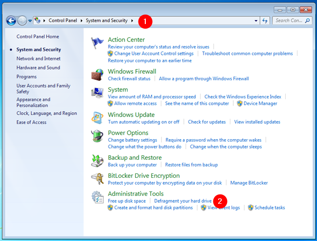 Open the Disk Defragmenter from the Control Panel in Windows 7