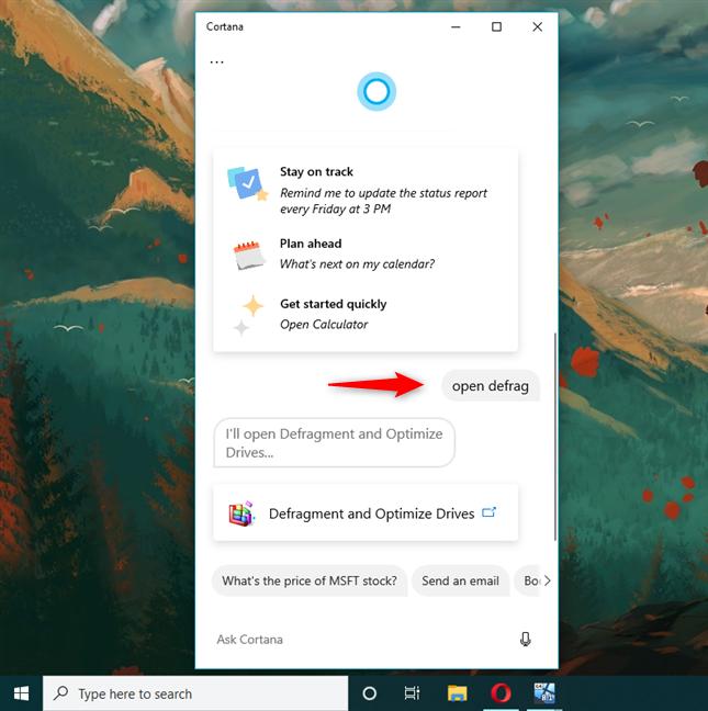 Open Disk Defragmenter in Windows 10 using Cortana