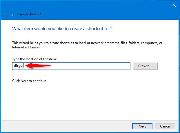 Create shortcut for Disk Defragmenter in Windows
