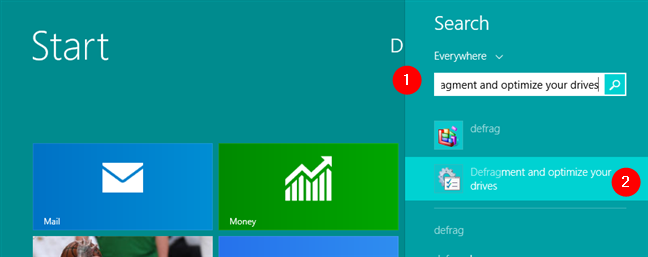 Search for defrag in Windows 8.1