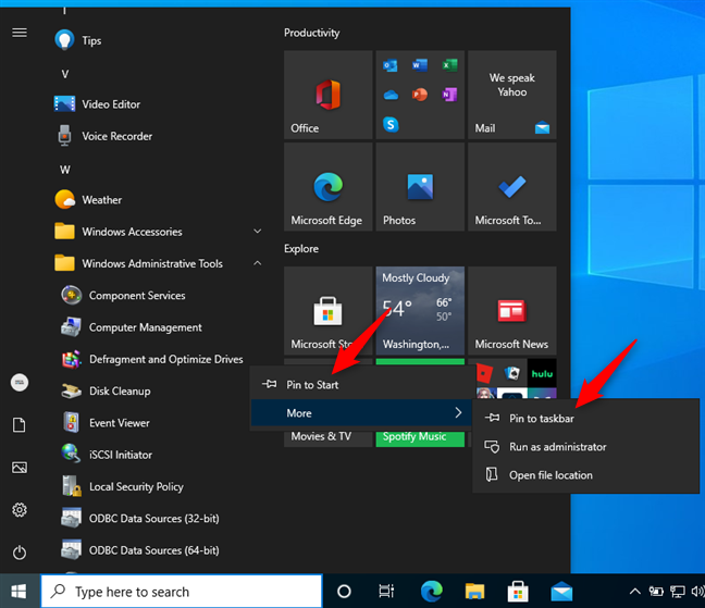 Pin Defragment and Optimize Drives to Start or the taskbar in Windows 10