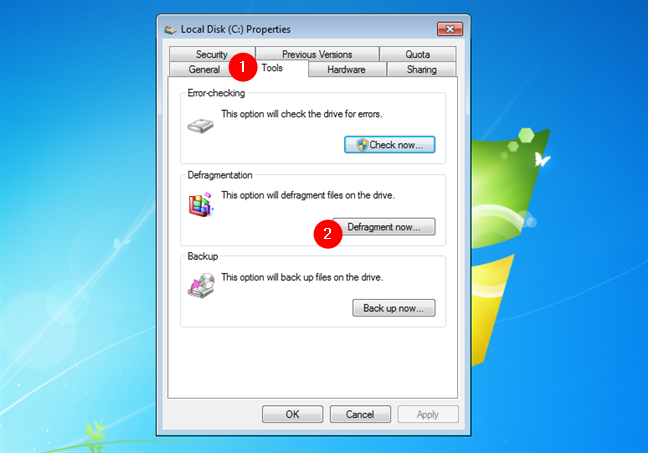 Open Disk Defragmenter in Windows 7 from the properties of a partition