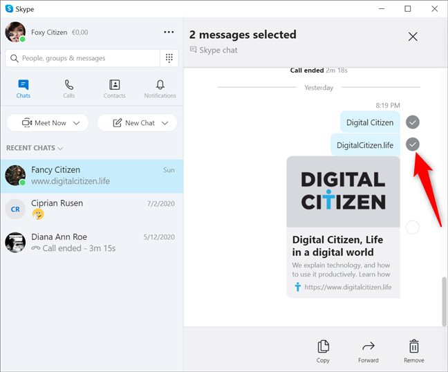 Select any messages you want to delete