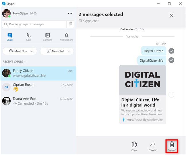 How to delete Skype messages on both sides in Windows and macOS