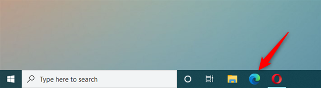 The Microsoft Edge shortcut on the taskbar