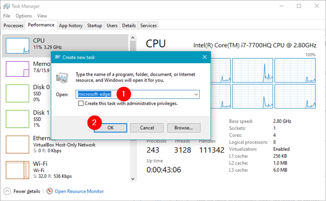 How to open Microsoft Edge from the Task Manager