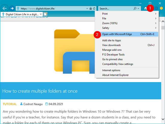 How to open Microsoft Edge from Internet Explorer