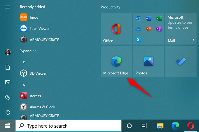 The Microsoft Edge shortcut tile on Windows 10's Start Menu
