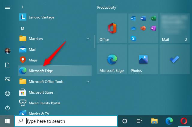 Open Microsoft Edge from the Windows 10 Start Menu