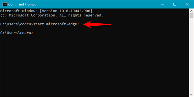 How to launch Edge from command line