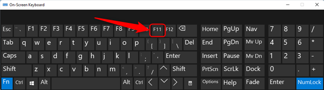 Locating the F11 button on the keyboard