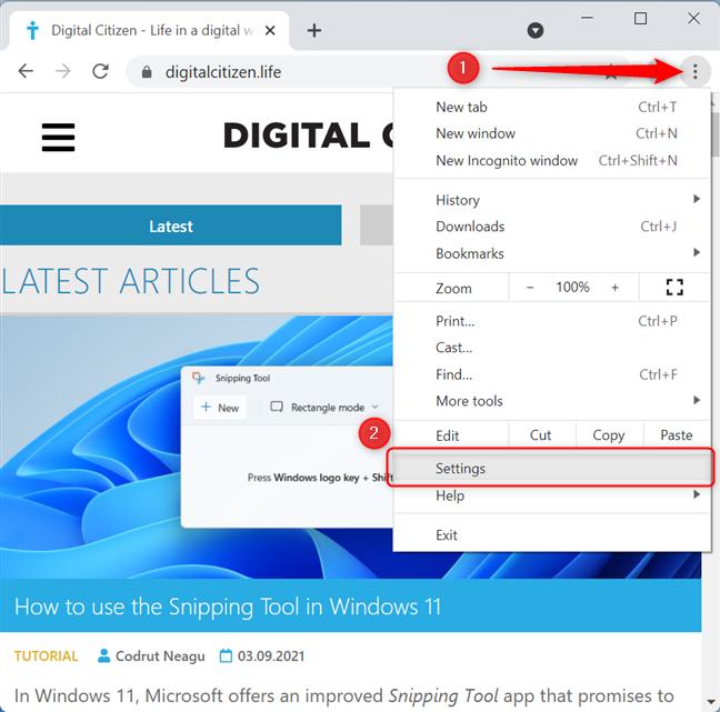Open Customize and control Google Chrome menu and choose Settings