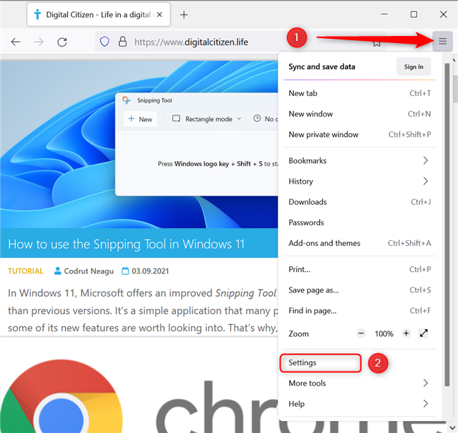 Locate and press the Open Application Menu button in Firefox