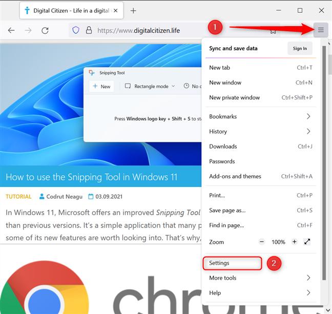 Open Settings in Firefox
