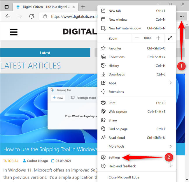 First, select Settings in the Microsoft Edge menu