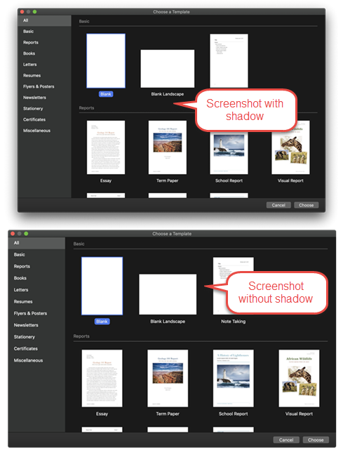 Learn how to take a screenshot on a Mac with or without a window shadow