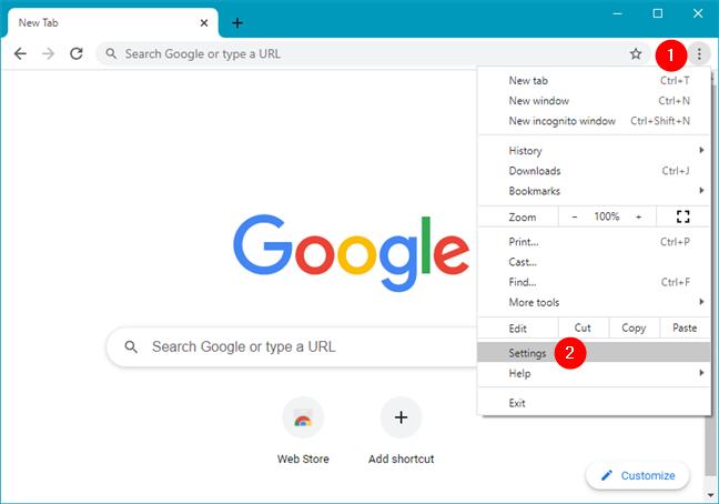 Open Settings in Google Chrome