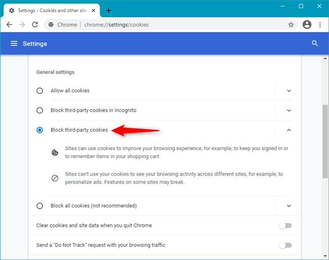How to block third-party cookies in Google Chrome