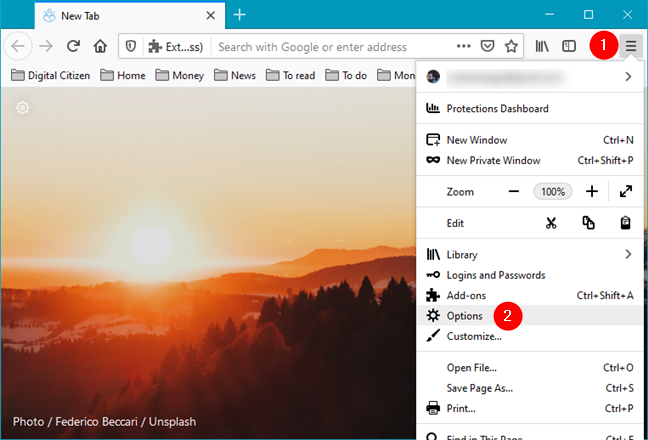 Open Options in Mozilla Firefox