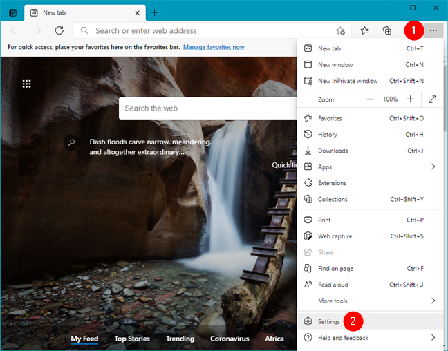 Open Settings in Microsoft Edge