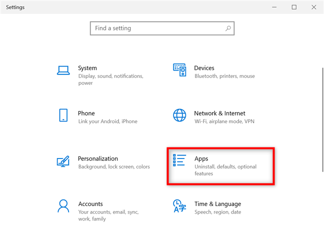Access the Apps settings in Windows 10