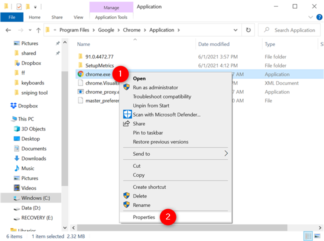 Open the Properties for chrome.exe in Windows 10