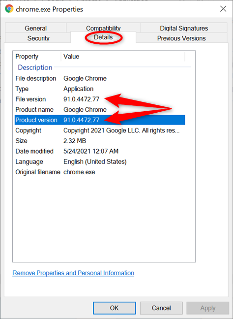 How to check the Chrome version in Windows 10 from the chrome.exe Properties