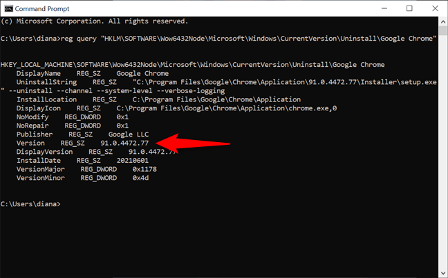 How to check the Chrome version in Windows with cmd
